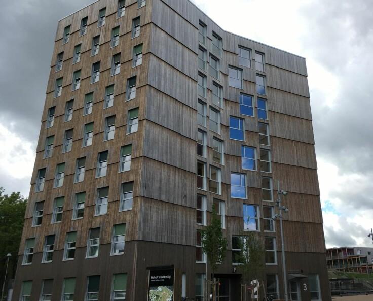 MASSIV STUDENTBY: Det bygges fremdeles lite i CLT, men studentboliger er et unntak, og mest kjent er Moholt i Trondheim. Foto: Kjersti Lie / Wikipedia