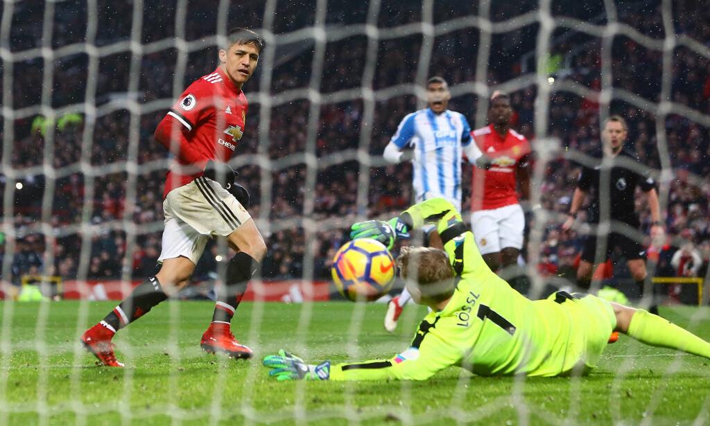 DER SATT'N: Alexis Sanchez scoret sitt første mål for Manchester United lørdag. Foto: Philip Oldham/BPI/REX/Shutterstock