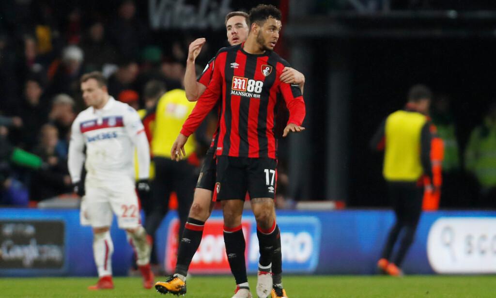 ENDELIG SCORING: Joshua King scoret mot Stoke lørdag. Foto: Reuters/Paul Childs