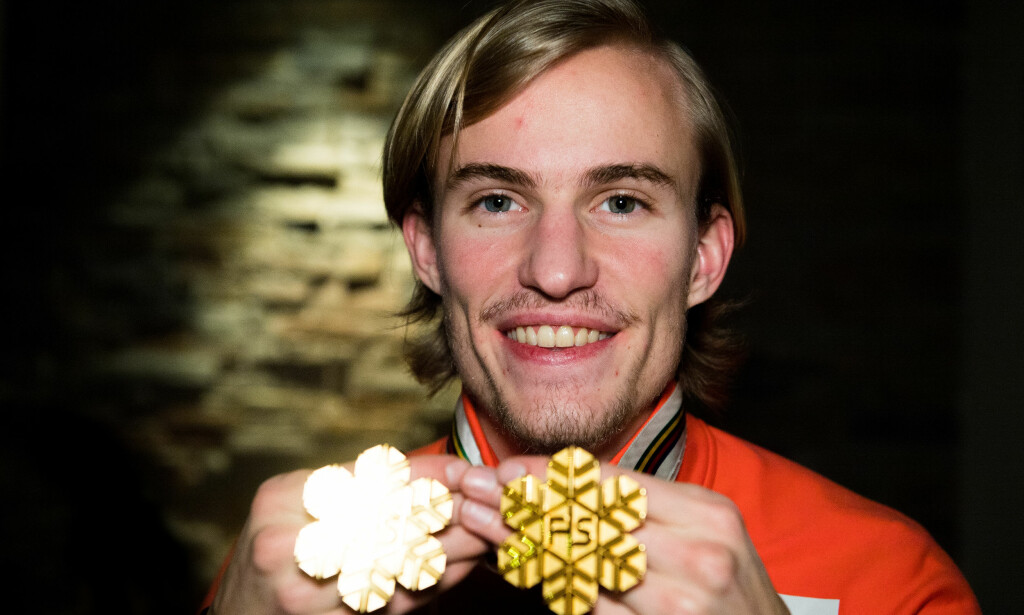 GULLHÅP: Daniel-André Tande mener han må ta rekorden til Matti Nykänen for å bli en av de store. Foto: Vegard Wivestad Grøtt / Bildbyrån