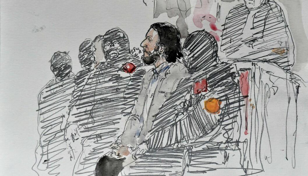 HOVEDMISTENKT: Salah Abdeslam (28) gjengitt i en tegning fra retten i dag. Foto: Scanpix