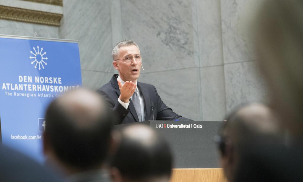 NATO-SJEF: Jens Stoltenberg, general sekretær i NATO åpner atlanterhavskomiteens sikkerhetskonferanse mandag morgen, hvor han blant annet sier at USA og Canada bruker mye ressurser på militær tilstedeværelse i Europa. Foto: Terje Bendiksby / NTB scanpix