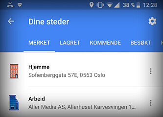 <strong>BYTT IKONER:</strong> I Google Maps på Android kan du endre hvordan hjemmet ditt eller arbeidsplassen din skal se ut på kartet. Skjermbilde: Kirsti Østvang