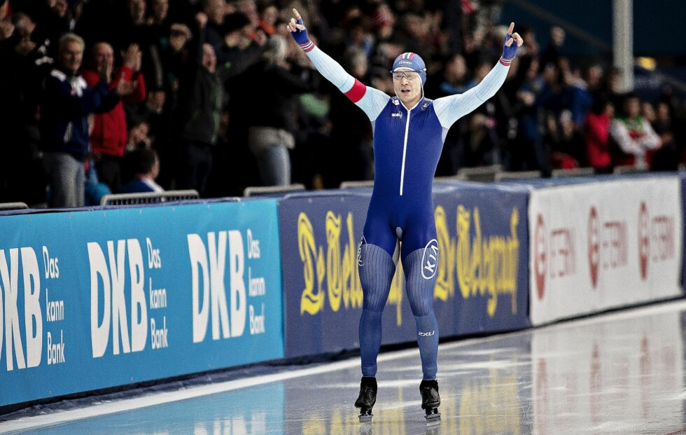 SJANSER FOR GULL: Håvard Lorentzen leder verdenscupen, og er et av Norges største gullhåp på skøyteisen i Pyeongchang. Foto: NTB Scanpix