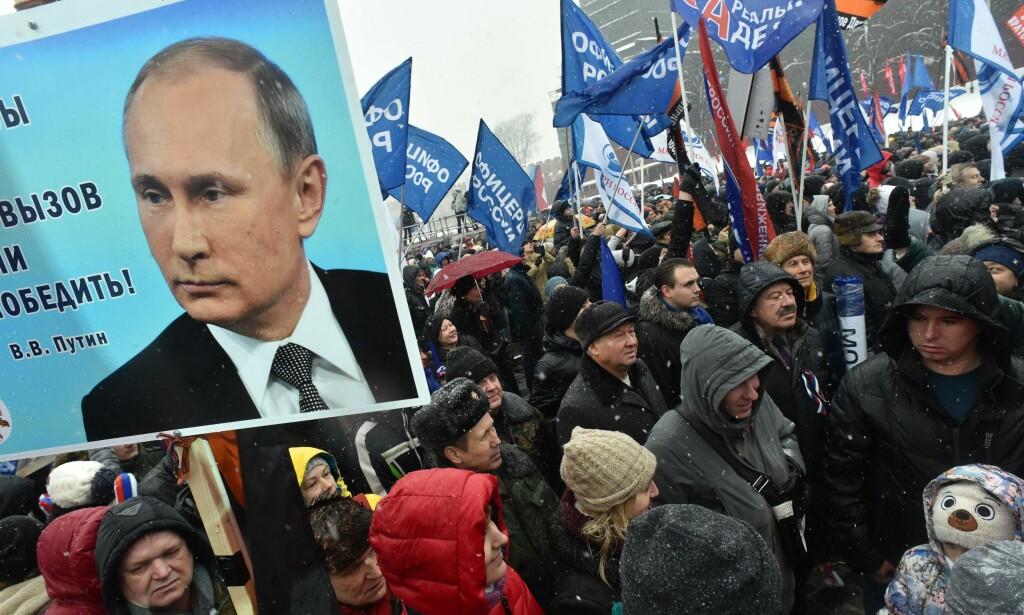 RUSSLAND I MITT HJERTE: Fra en demonstrasjon for russisk idrett 3. februar, under slagordet Russland i mitt hjerte. Foto: AFP / NTB Scanpix