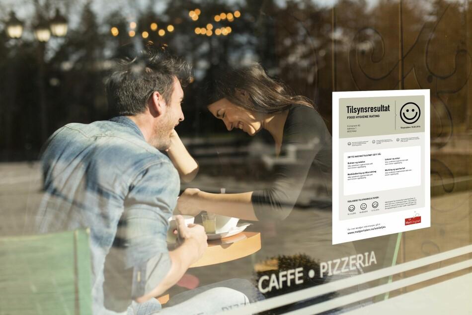SMILEFJESORDNINGEN: En av tre Oslo-restauranter måtte nøye seg med strekmunn på plakaten etter Mattilsynets siste runde med uanmeldte besøk. Dette spisestedet hadde alt på det tørre, og ble belønnet med smilefjes. Foto: NTB/Scanpix