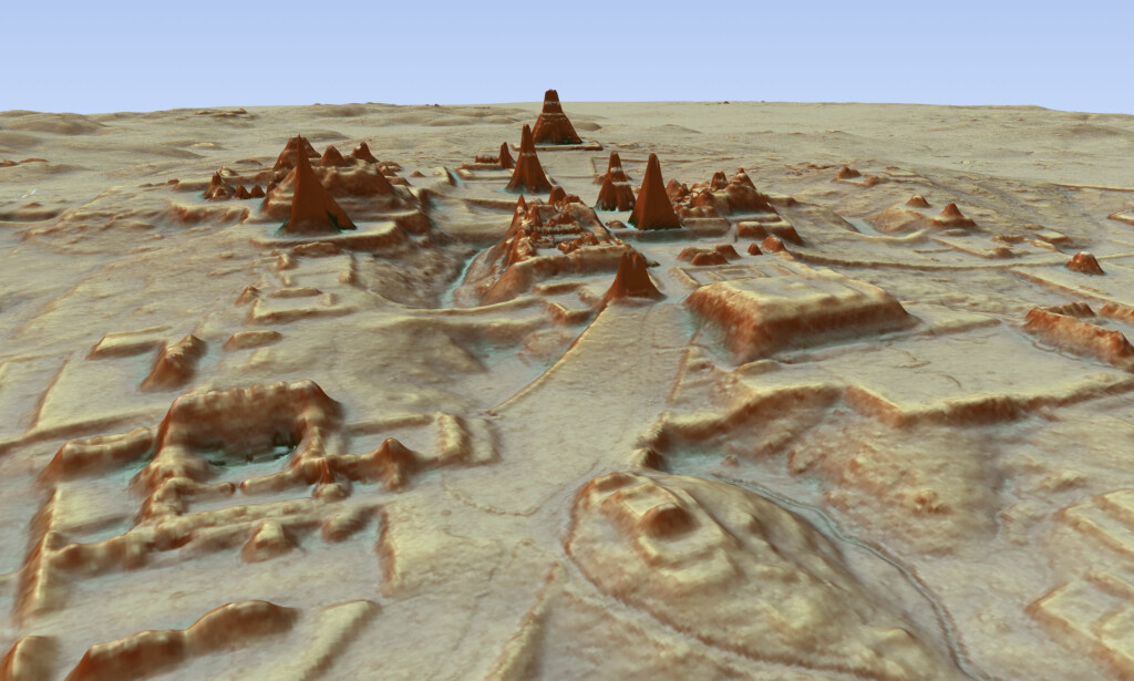 GIGANTFUNN: Laserteknologien avdekket tusenvis av bygninger, veier og andre konstruksjoner skapt av Mayasivilisasjonen. Her ser man deler av funnet som ble gjort ved bruk av laserteknologi. Grafikk/foto: AP