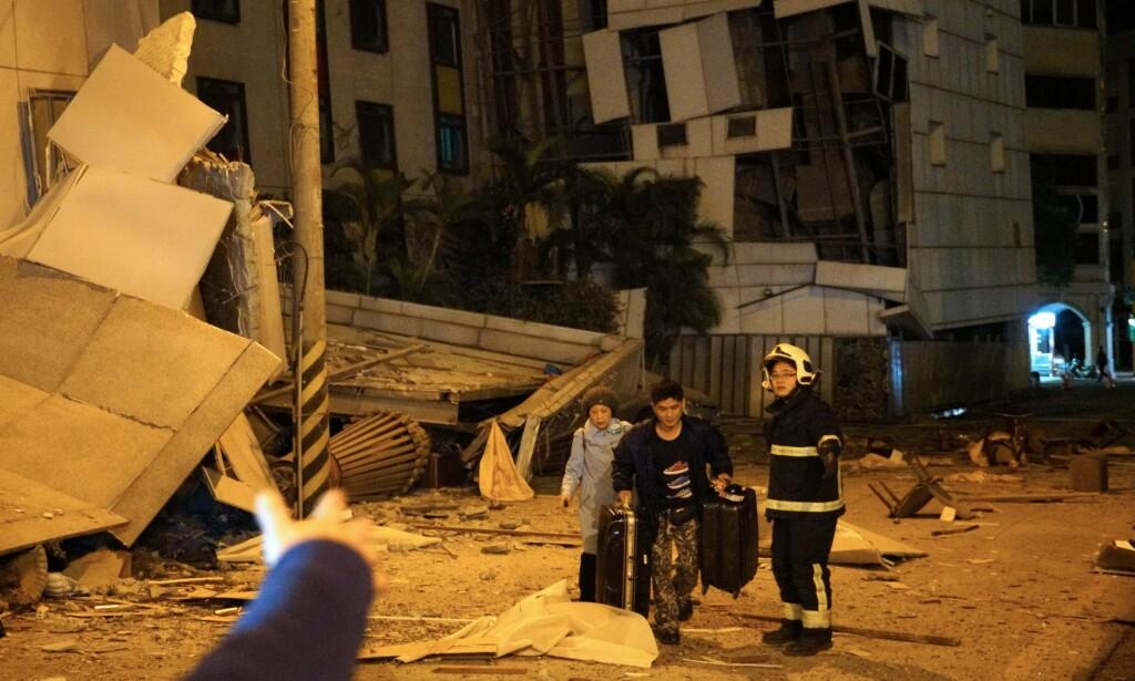JORSKJELV: Et jordskjelv fant sted i Taiwan rund midnatt. Foto: AFP PHOTO / YANG JEN-FU / Taiwan OUT