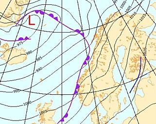 PROGNOSE: Meteorologenes prognose for torsdag. Foto: Meteorologisk institutt
