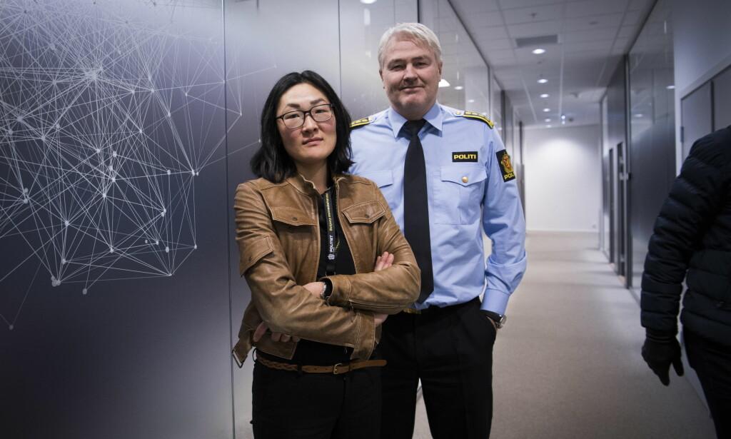 MENNESKEHANDEL: Eivind Borge og Helene Forsland Widerberg i Kripos med rapport om menneskehandel. De har ikke oversikt over antall ofre. Foto: Lars Eivind Bones / Dagbladet