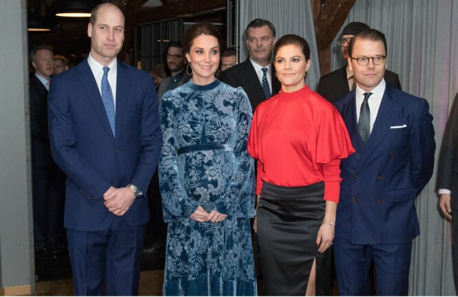 SVERIGE-BESØK: Prins William sammen med hertuginne Kate og prinsesse Victoria og ektemannen prins Daniel. Foto: NTB Scanpix