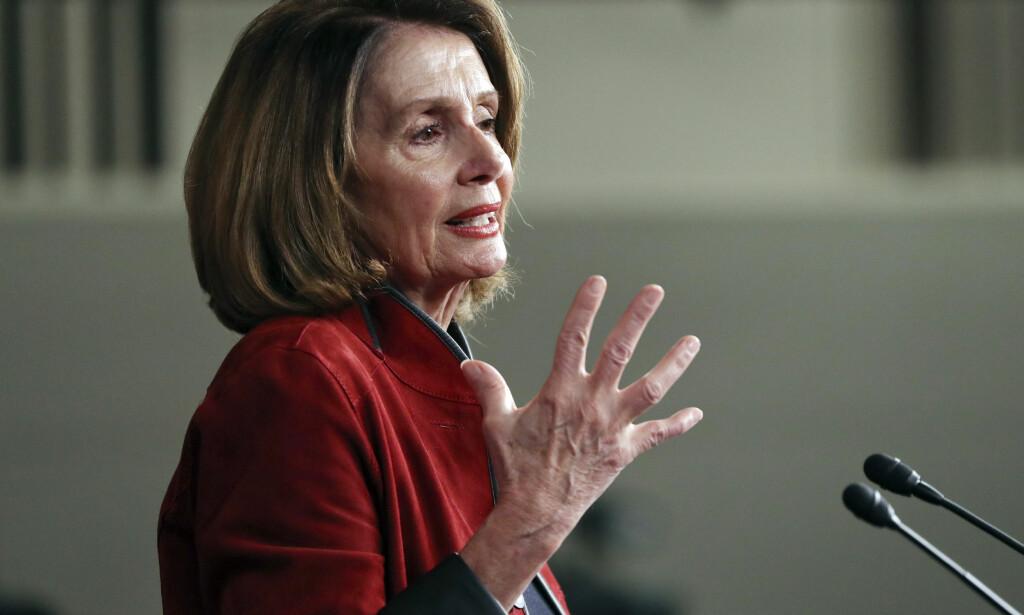 REKORD: Demokratenes mindretallsleder Nancy Pelosi vil ikke støtte Senatets budsjettforslag. Foto: Pablo Martinez Monsivais / AP / NTB scanpix