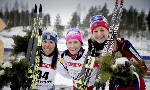 SUKSESS: Astrid Uhrenholdt Jacobsen, her sammen med Marit Bjørgen og Charlotte Kalla, hadde stor mesterskapssuksess i Lahti-VM i fjor, men klarte ikke å følge opp i Pyeongchang. Foto: Bjørn Langsem / Dagbladet
