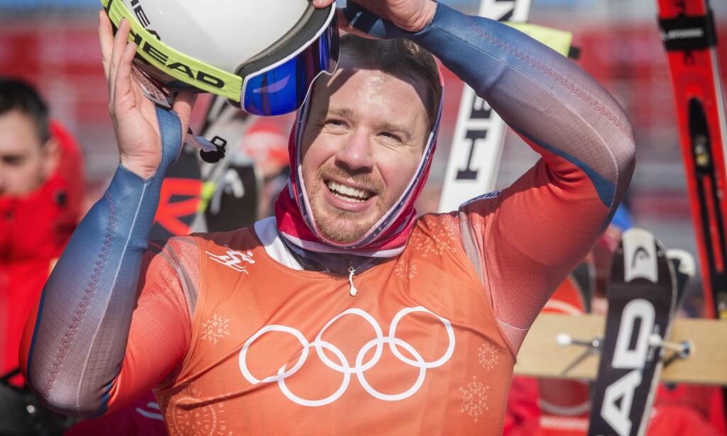 SMILTE: Kjetil Jansrud etter dagens runde i utforløypa. Foto: Hans Arne Vedlog / Dagbladet