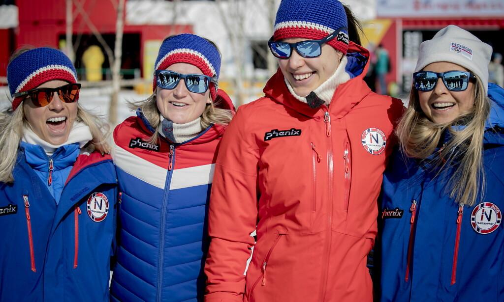OL-JENTENE: Tiril Eckhoff ( fra venstre) Marte Olsbu, Synnøve Solemdal og Ingrid Landmark Tandrevold før kvinnenes sprintøvelse. Foto: Bjørn Langsem / Dagbladet