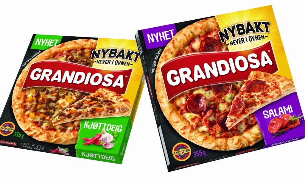 NYBAKT: Grandiosa lanserer to nye pizzaer med rå bunn, Grandiosa kjøttdeig og Grandiosa salami.