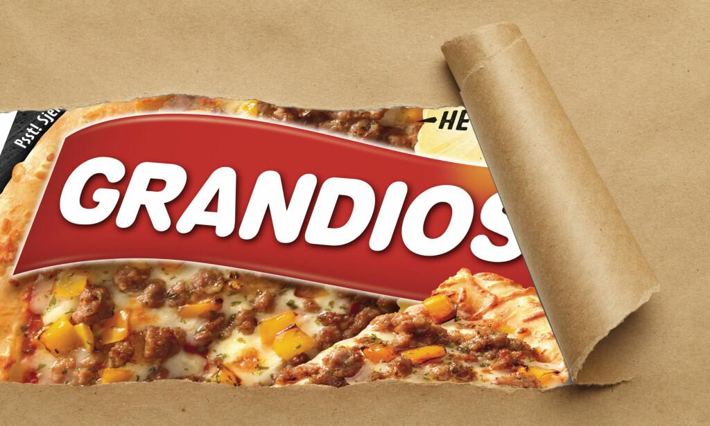SMUGTITT: Nordmenn spiser nesten ti frossenpizza hver i året i snitt, omtrent halvparten av disse er av merket Grandiosa. Foto: Orkla og Mega Pixel / Shutterstock / NTB Scanpix