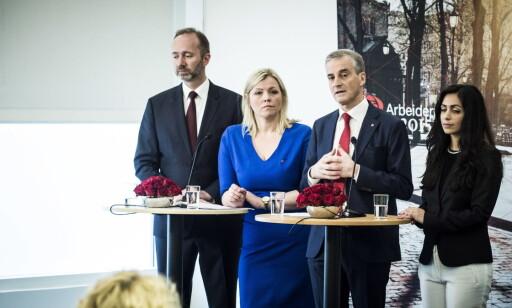 MISTET EN: Dette var ledelsen Ap-landsmøtet valgte i april 2015: Ap-leder Jonas Gahr Støre, nestlederne Hadia Tajik (til høyre) og Trond Giske og partisekretær Kjersti Stenseng. Nå er Giske ute. Foto: Lars Eivind Bones / Dagbladet
