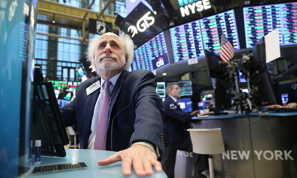 KRAFTIG FALL: Dow Jones ned 4,2 prosent. Foto: Spencer Platt/Getty Images/AFP