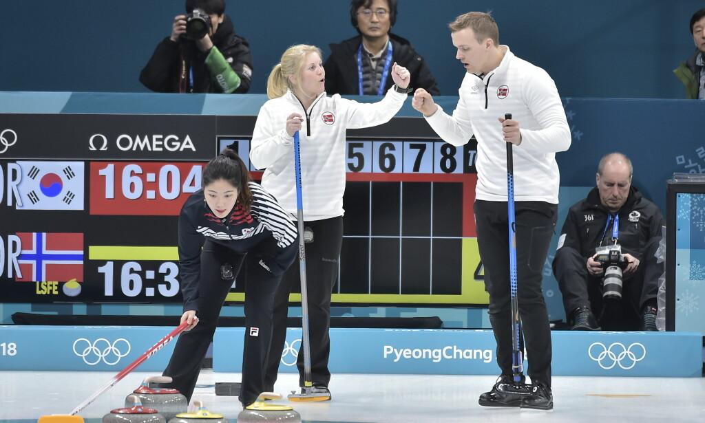 SEIER: Det norske curlingparet Kristin Skaslien og Magnus Nedregotten slo hjemmenasjonen Sør-Korea med overbevisende sifre. Foto: Hans Arne Vedlog / Dagbladet