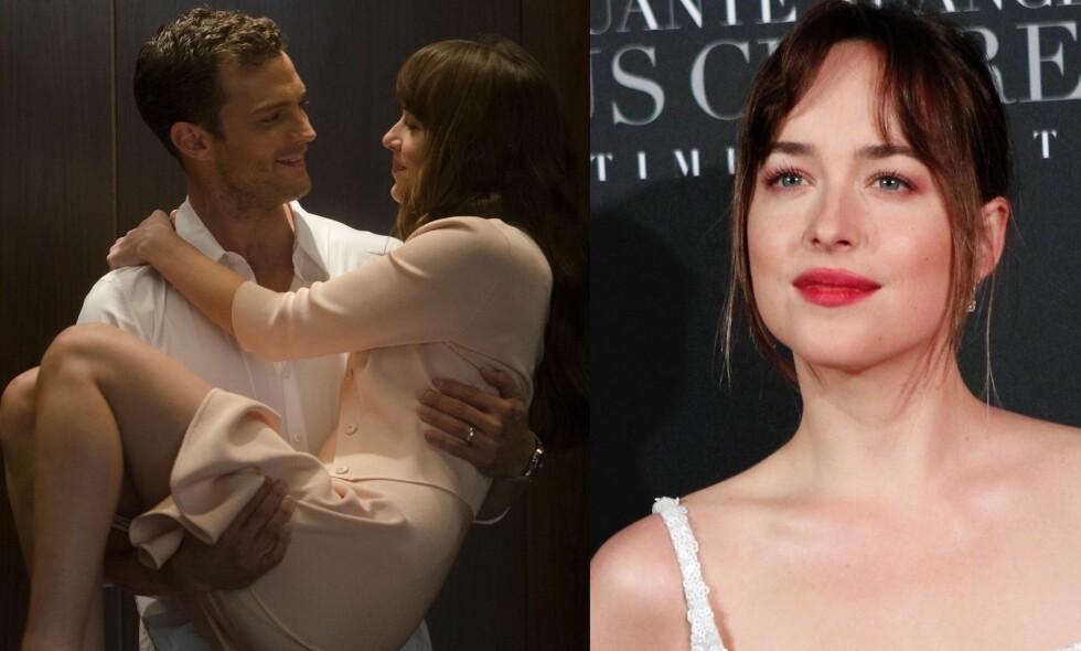 TRENING: Skuespillerne Dakota Johnson og Jamie Dornan måtte holde seg i god form for å tre inn i rollefigurene sine i «Fifty Shades»-triologien. Foto: NTB Scanpix