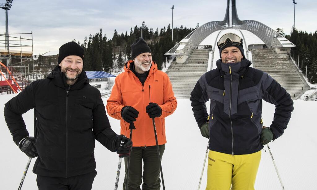 TUNGE ØKTER: Tom Stiansen og Lasse Kjus forteller om tunge økter opp Holmenkollen. Her har de testet parallellslalåmbakken som ble brukt i Holmenkollen 1. januar. Foto: Lars Eivind Bones / Dagbladet