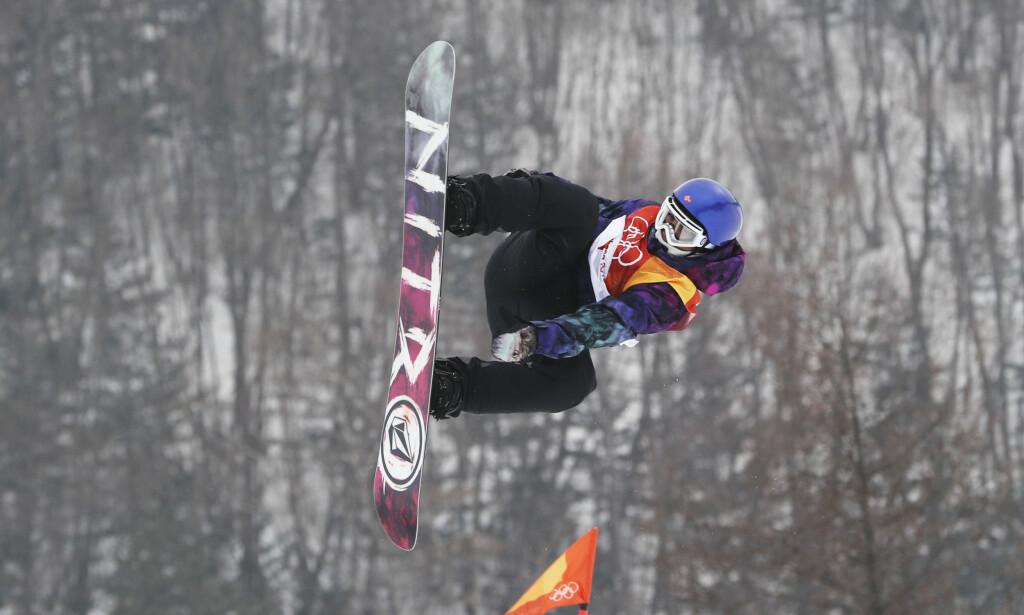 HØYT SVEV: Marcus Kleveland i den første runden i slopestylekvalifiseringen i Pyeongchang. Foto: Andreas Hillergren / TT / NTB scanpix