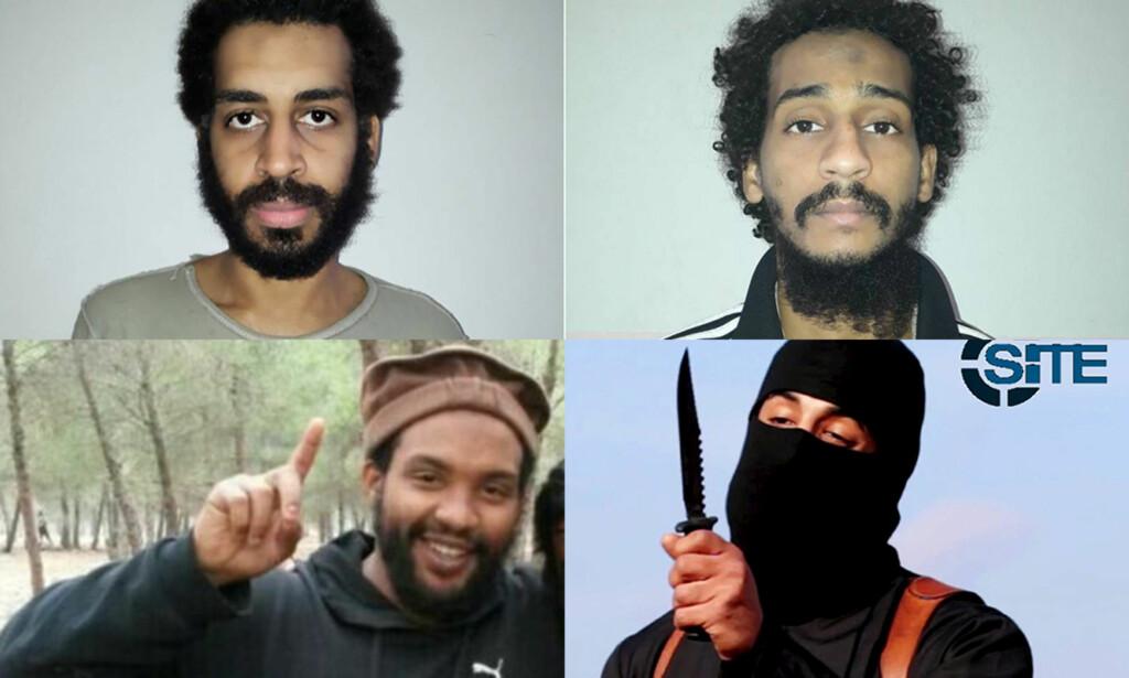«THE BEATLES»: De fire britene Alexanda Kotey (øverst t.v.), El Shafee Elsheikh (øverst t.h.), Aine Lesley Davis (nederst t.v.) og Mohammed Emwazi, også kjent som «Jihadi John» var kjent som jihadistenes «The Beatles». Nå er tre av dem fanget, mens Emwazi er drept.