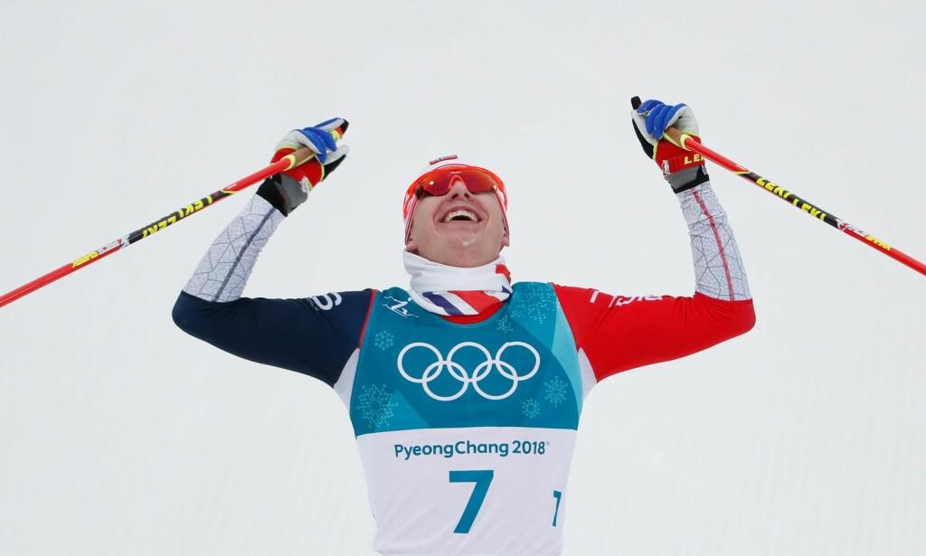 GULL: Simen Hegstad Krüger tok OL-gull på tremila. Foto: AFP PHOTO / Odd ANDERSEN