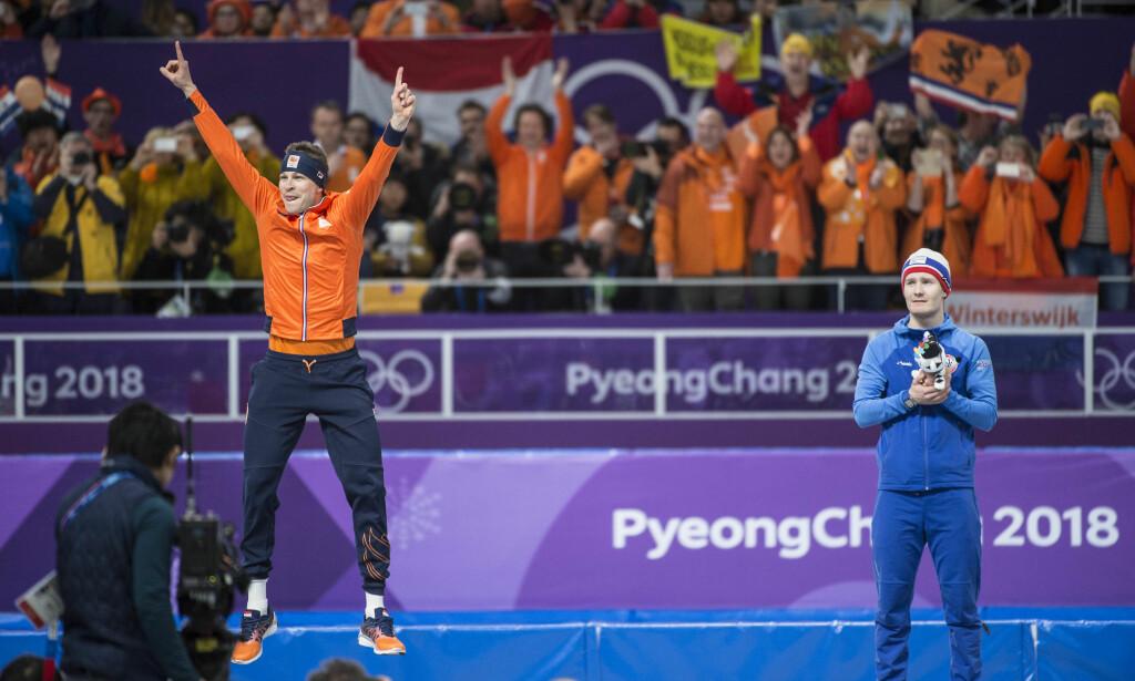 BLE NUMMER TRE: Sverre Lunde Pedersen. Her sammen med vinner Sven Kramer. Foto: Hans Arne Vedlog / Dagbladet