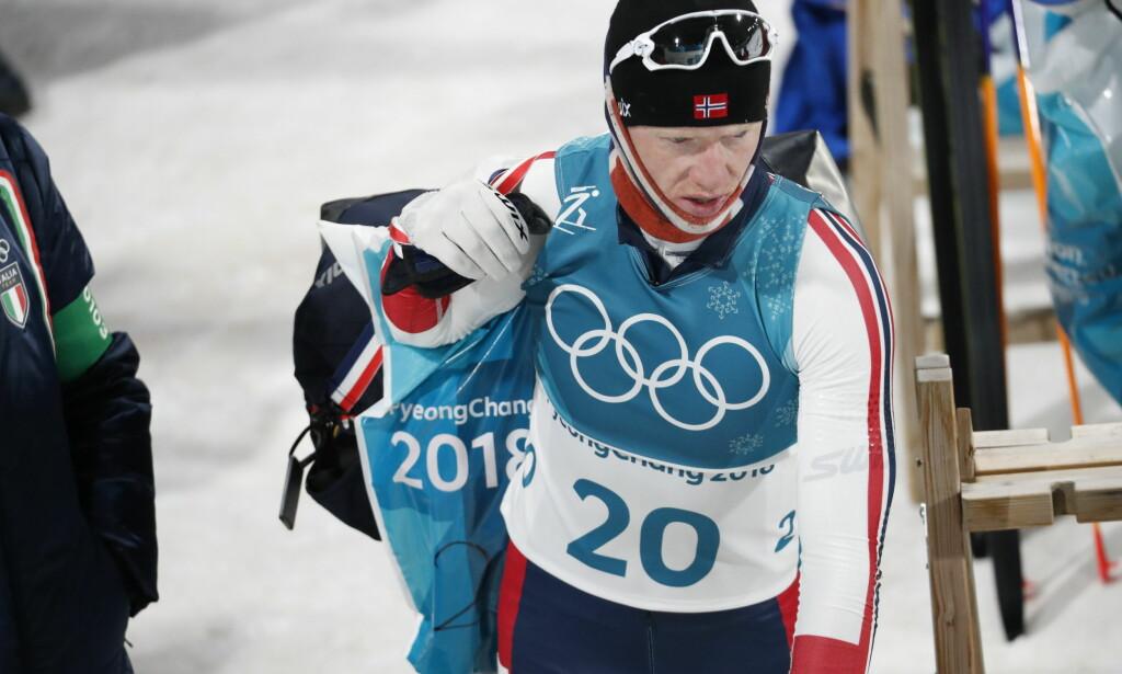 BLYTUNGT: Johannes Thingnes Bø fikk det rett og slett tøft i vinden på OL-sprinten. Foto: Bjørn Langsem/Dagbladet