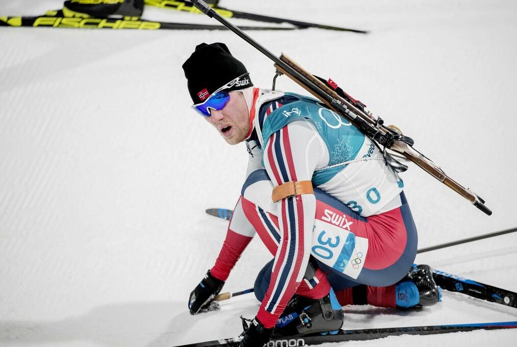 <strong>STERK OL-DEBUT:</strong> Erlend Bjøntegaard ble beste norske på dagens OL-sprint i skiskyting i sørkoreanske Pyeongchang, og har sikret seg et god utgangspunkt på morgendagens jaktstart. Tyske Arnd Peiffer ble olympisk mester på sprinten.