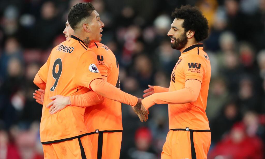 AVGJØRENDE: Roberto Firmino og Mohamed Salah strålte da Liverpool slo Southampton 2-0. Foto: NTB Scanpix
