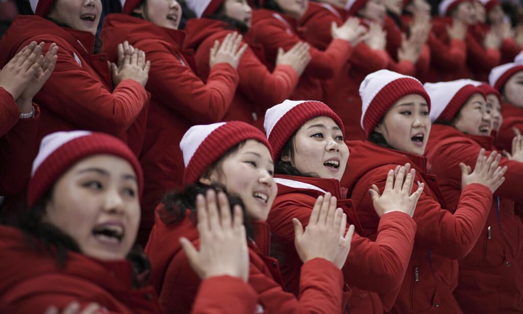 SUPPORTERE: Her er et knippe nordkoreanske supportere under en ishockey-kamp. Foto: Felipe Dana / NTB Scanpix