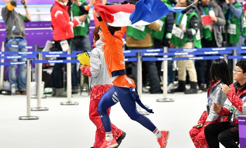 VANT: Nederlandske Ireen Wüst sikret i dag sitt femte olympiske gull fordelt på fire mesterskap. Ida Njåtun ble nummer sju på dagens 1500 meter. Foto: AFP PHOTO / Mladen ANTONOV / NTB Scanpix