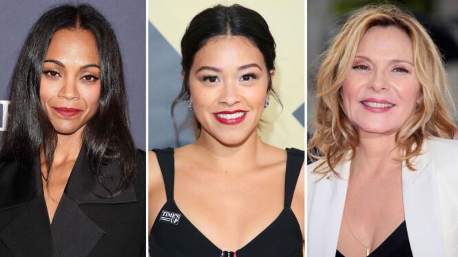 ÅPNE OM SYKDOMMEN: Zoe Saldana (t.v), Gina Rodriques og Kim Cattrall er noen av stjernene som også har vært åpne om hvordan de lever med hashimotos tyreoiditt. Foto: NTB scanpix