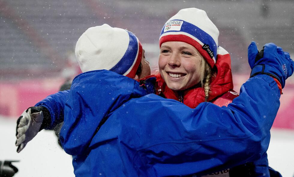 HISTORISK: Maren Lundby ble den første nordmannen til å ta OL-gull i hopp for kvinner. Foto: Bjørn Langsem / Dagbladet