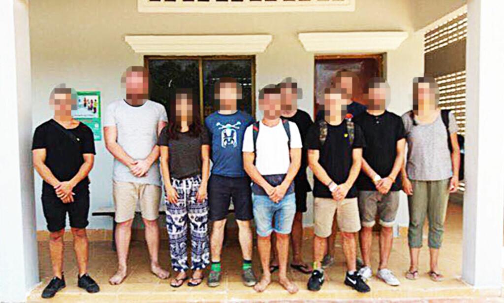 PÅGREPET: Ti utlendinger er pågrepet i Siem Reap i Kambodsja. En av de pågrepne på dette bildet, publisert av kambodsjansk politi, er en norsk 22 år gammel mann. Foto: Politiet