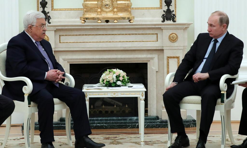 SAMTALER: Palestinas president Mahmoud Abbas i samtaler med Russlands president Vladimir Putin i Moskva. Foto: Mikhail Klimentjev / AP / NTB scanpix