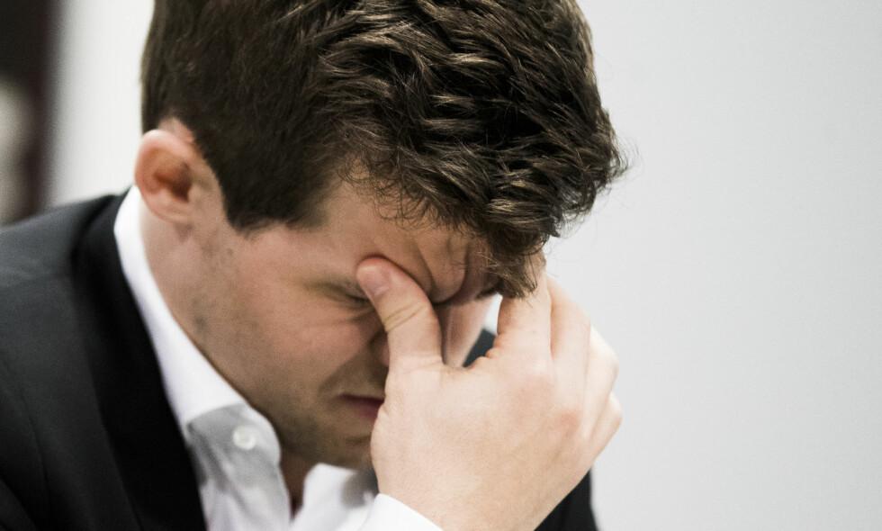 TAPTE: Magnus Carlsen tapte det åttende partiet mot Hikaru Nakamura i Fischer Random. Foto: Berit Roald / NTB scanpix