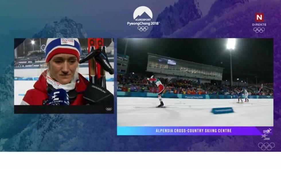I TÅRER: Kathrine Harsem var skuffet etter å ha røket ut i OL-sprinten i kvartfinalen. Skjermdump: TV Norge