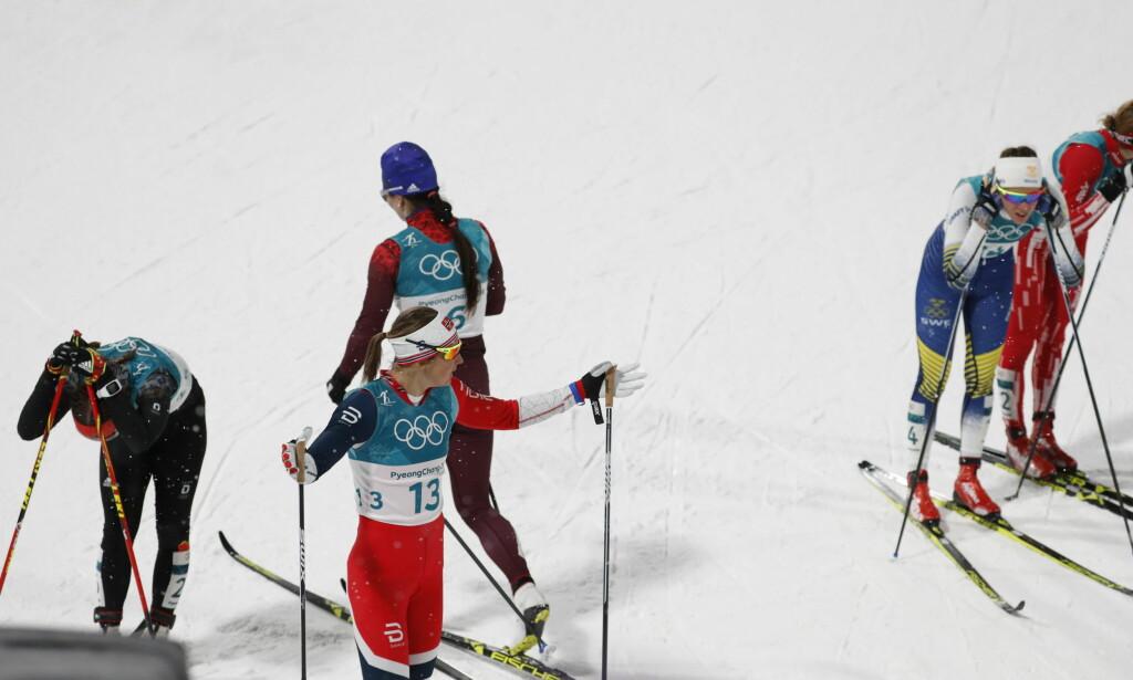 OPPGITT: Ingvild Flugstad Østberg etter målgang da hun røk i kvartfinalen. Foto: Bjørn Langsem / Dagbladet