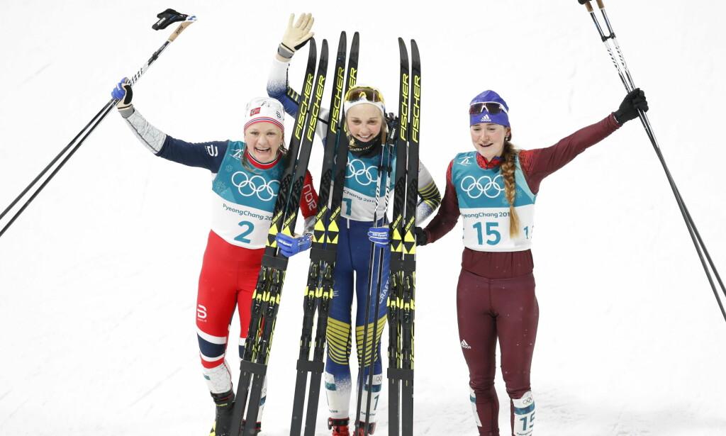 PALLEN: Maiken Caspersen Falla, Stina Nilsson og Julija Belorukova. Foto: Bjørn Langsem/Dagbladet