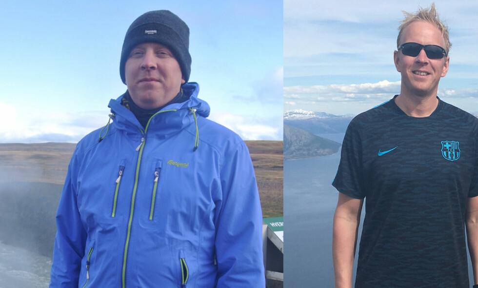 GIKK NED 19 KILO: Morten Åsland gikk ned mange kilo på bare seks måneder. Før (til venstre) vektnedgangen veide han 104 kilo. Til høyre ser du en sunnere, gladere versjon av 34-åringen fra Mo i Rana. (Foto: Privat)