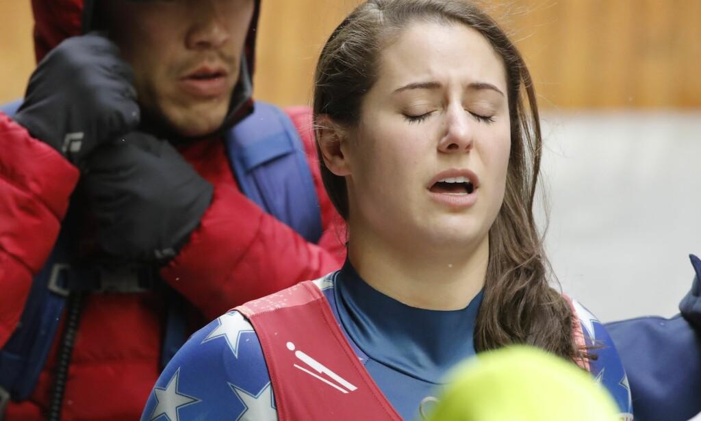 KOM ALDRI I MÅL: Emily Sweeney pådro seg hjernerystelse i ulykken. Foto: NTB scanpix