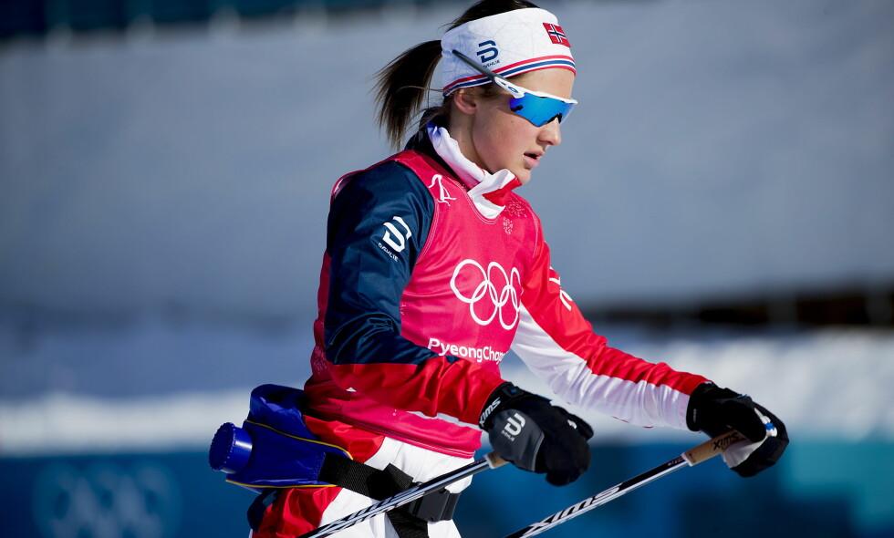 INTENST: Ingvild Flugstad Østberg har havnet i flere intense dueller på langrennsarenaen Alpensia Olympic Park i Pyeongchang. Foto: Bjørn Langsem / Dagbladet