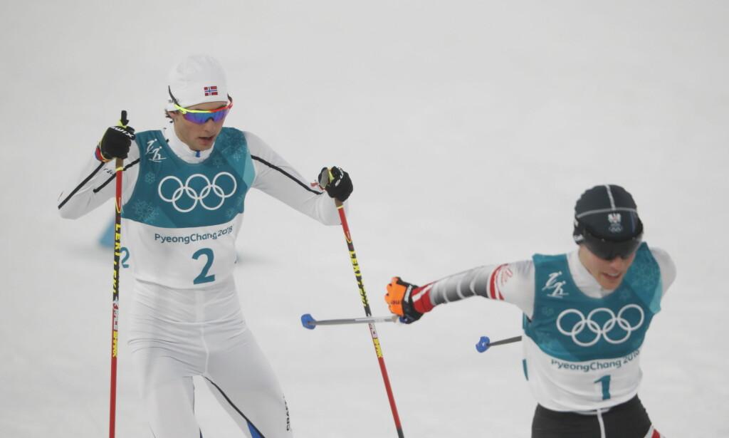 FJERDEPLASS: Jarl Magnus Riiber endte på fjerdeplass i dagens kombinertøvelse, etter å ha blitt nummer to i hopprennet. Foto: Bjørn Langsem / Dagbladet