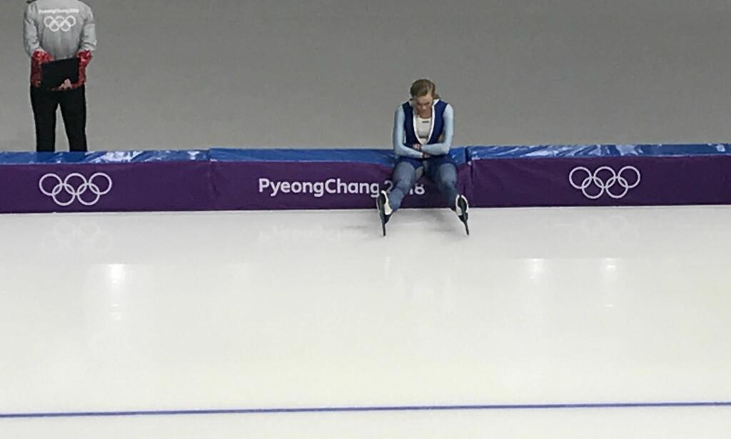 KNUST: Hege Bøkko var knust etter 1000-meteren. Hun sier hun aldri har følt seg i bedre form. Det ble en 15. plass, langt unna det Bøkko hadde håpet på.