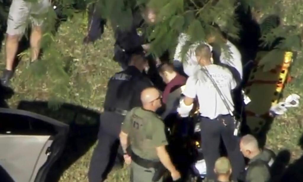 PÅGREPET: Her blir gjerningsmannen pågrepet av politiet. Foto: Scanpix