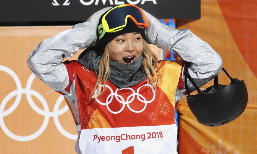 OL-GULL: Chloe Kim gikk til topps i kvinnenes snowboard halfpipe. Foto: NTB Scanpix